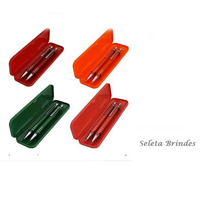Seleta Brindes - Kit caneta e lapiseira semi metal.