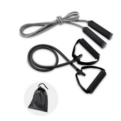 Kit fitness. Incluso elástico e corda de pular. Fornecido com bolsa em 190T. Bolsa: 210 x 270 mm - Seleta Brindes