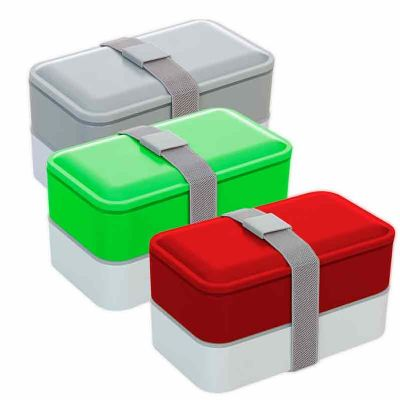 Seleta Brindes - Marmita plástica de 2 compartilhamentos e talheres
