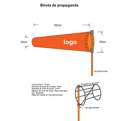 Luxus Comercial - Cone promocional em nylon resinado. Estrutura em aço inox, haste de 3,00mt em aço galvanizado, medida 30 x 15 x 120 cm