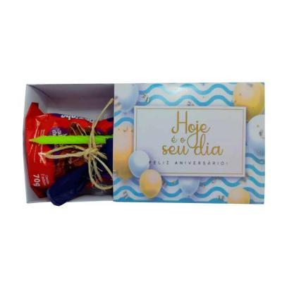 Kit parabéns para aniversário contendo 1 bolinho, 1 vela e 1 bexiga dentro de caixinha modelo gav...