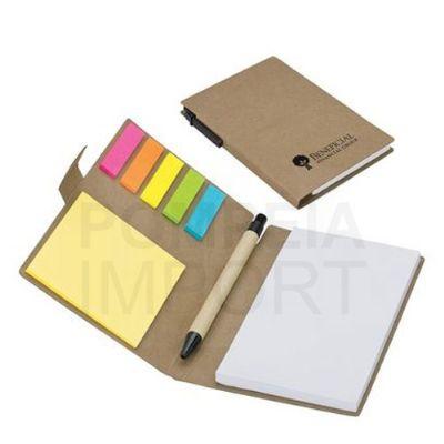 Pompeia Import - bloco de anotações com caneta e sticky notes