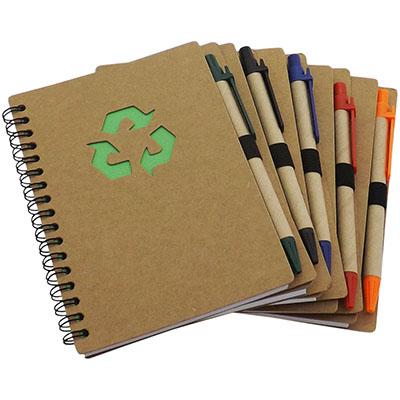 rf-canetas-e-brindes - Bloco de anotações reciclado - contém 80 folhas brancas. Acompanha caneta reciclada. Quantidade mínima 100 peças
