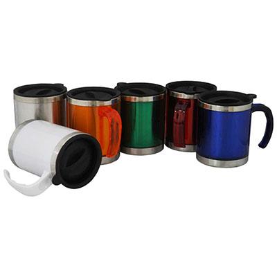 rf-canetas-e-brindes - Caneca de 400 ml. Produzida em aço inoxidável comacabamento externo em plástico transparente e base em aço inoxidável polido, com tampa de plástico