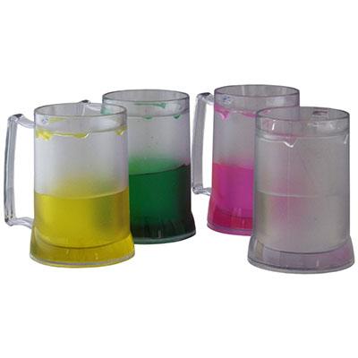 rf-canetas-e-brindes - Caneca de chopp de 400 ml de acrílico transparente com gel colorido (verde-vermelho-preto-rosa-amarelo) quantidade mínima 50 peças