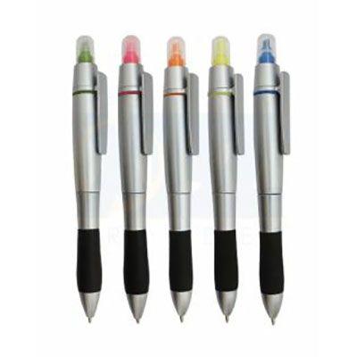 rf-canetas-e-brindes - Caneta plástica com marca-texto.
