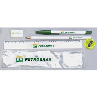 - kit contendo caneta, lápis, régua,apontador, borracha ou monte seu kit. Acompanha envelope de PVC. impressão silk screen , impressão digital