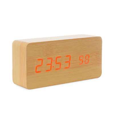 Relógio de Madeira com Display LED - Amora Brindes