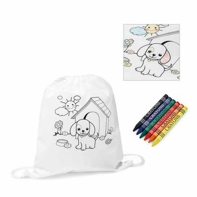 Sacola tipo mochila para colorir