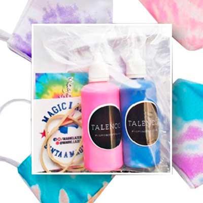 Máscara dupla 100% algodão, elástico, luva, manual e tinta. Tie dye um presente de sucesso para o...