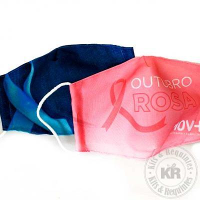 Mascara de proteção em tecido poliéster com forro 100% algodão com costura dupla