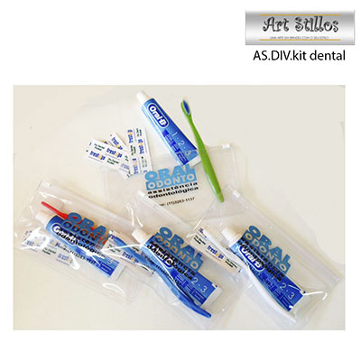 KIT DENTAL COMPOSTO DE NECESSAIRE EM PVC CRISTAL, ESCOVA DE DENTE, CREME DENTAL E SACHES DE FIO DENTAL - Art Stillos