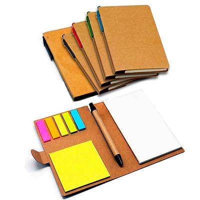 DW Promocionais - Bloco de anotação com sticky notess coloridos e caneta.