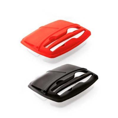 Marmita plástica com 3 compartimentos, garfo e faca
