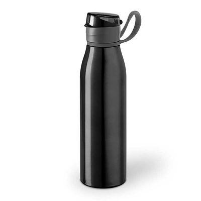 Link Promocional - Squeeze na cor Preto com capacidade 650 ml.  Material: Alumínio e AS. Tamanho: ø66 x 240 mm