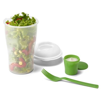 Link Promocional - Copo para salada com garfo, molheira e tampa