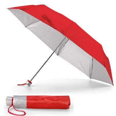 - Guarda-chuva dobrável na cor vermelho.  Dobrável em 3 secções.  Material: Poliéster 190T. Tamanho: Fornecido em bolsa. ø960 mm | Bolsa: ø40 x 225 mm