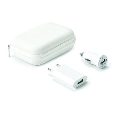 Kit de carregadores USB. ABS. Incluso carregador de corrente DC 220V e carregador para carro DV 12-24V. Fornecido com bolsa EVA. Bolsa: 112 x 80 x 45 ...