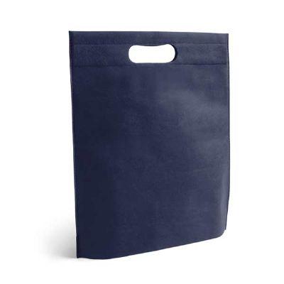 - Sacola Termo-selado na cor azul. Material: Non-woven: 80 g/m².  Tamanho: 250 x 350 x 80 mm