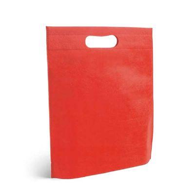 - Sacola Termo-selado na cor vermelha. Material: Non-woven: 80 g/m².  Tamanho: 250 x 350 x 80 mm
