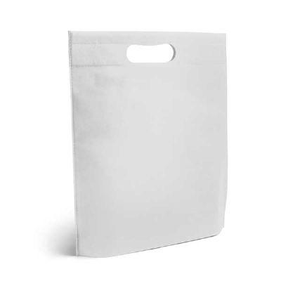 - Sacola Termo-selado na cor branca. Material: Non-woven: 80 g/m².  Tamanho: 250 x 350 x 80 mm
