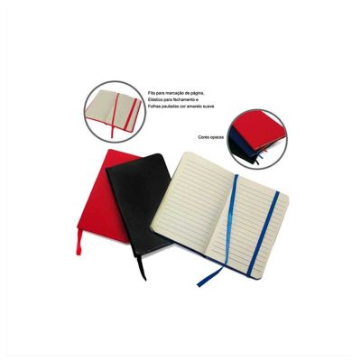 No Ato Brindes - Bloco de anotações personalizado, com 80 folhas pautadas, capa dura e elástico para fechamento.