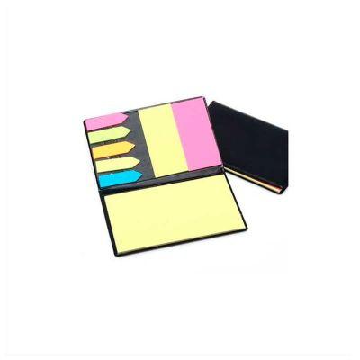 No Ato Brindes - Bloco de anotação personalizado, com sticky notes coloridos, feito em couro sintético.