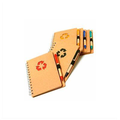 Bloco de anotações personalizado com 80 folhas e caneta.