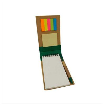 no-ato-brindes - Bloco de anotações ecológico com sticky notes e caneta reciclável.
