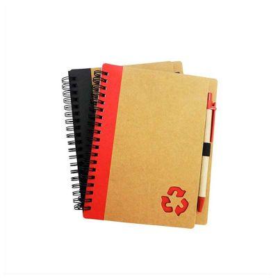 Bloco de anotações personalizado com caneta ecológica. Impressão da logomarca em tampografia.