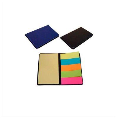 no-ato-brindes - Bloco de anotações e sticky notes com aproximadamente 20 folhas e capa de couro sintético.