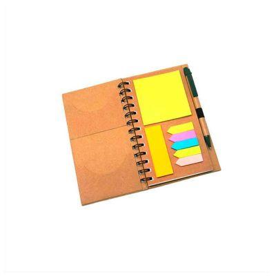 Bloco de anotações personalizado,com 60 folhas, acompanha sticky notes e caneta de material reciclável.