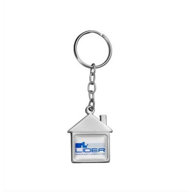 Chaveiro personalizado, em metal no formato de casa