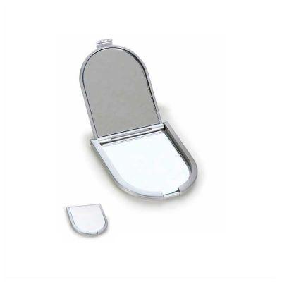 No Ato Brindes - Espelho personalizado de bolso em plástico metalizado resistente.