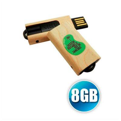 no-ato-brindes - Pen drive personalizado no atacado com 8GB de capacidade em madeira retrátil.