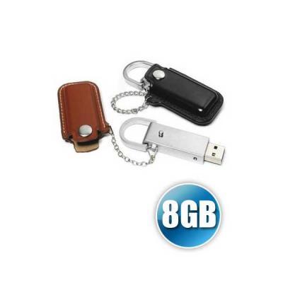 no-ato-brindes - PEN DRIVE 8 GB EM COURO PARA BRINDE PERSONALIZADO