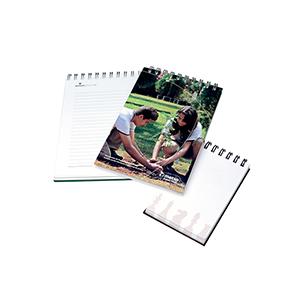 MC ArtGraf - Bloco de anotações capa com laminação fosca ou brilho, formato 100 x 150 mm. Acabamento com wire-o metálico