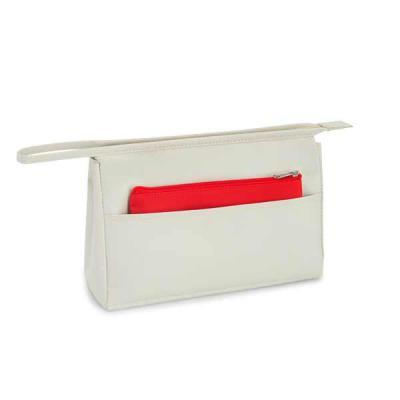 Agitalle Brindes Promocionais - Bolsa de cosméticos. Microfibra. Com bolso frontal e bolsa multiusos. 230 x 150 x 70 mm | Bolsa pequena: 180 x 110 mm