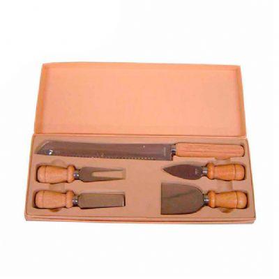 direct-brindes-personalizados - Kit queijo 5 peças e estojo de madeira