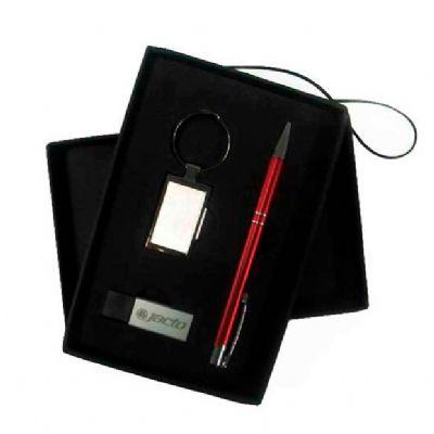 Kit escritório com caneta chaveiro e pen drive - Direct Brindes Personalizados
