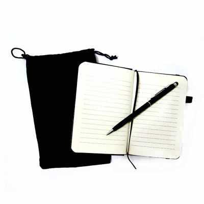 Kit Escritório Bloco e Caneta Touch com Saquinho Veludo Personalizado