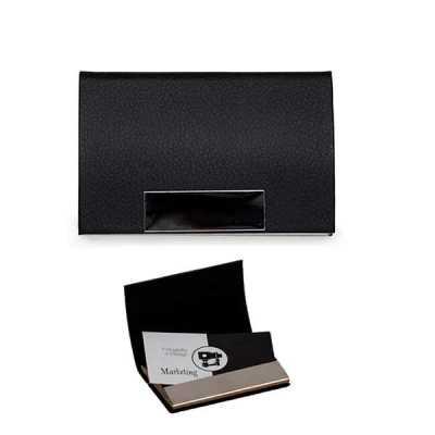 direct-brindes-personalizados - Porta Cartão em Couro Sintético Texturizado com Placa Metálica Personalizada