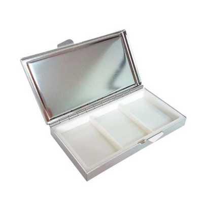 direct-brindes-personalizados - Porta Comprimido de Metal Formato Retangular com 3 Divisórias