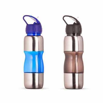 Squeeze de Alumínio 600ml com Alça Plástica e Bico de Canudo Personalizado