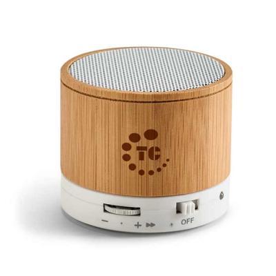 Caixa de som com microfone. Bambu. Com transmissão por bluetooth, ligação stereo 3,5 mm e leitor ...