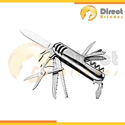 direct-brindes-personalizados - Canivete metal 11 funções para dar de brinde com detalhe emborrachado preto.