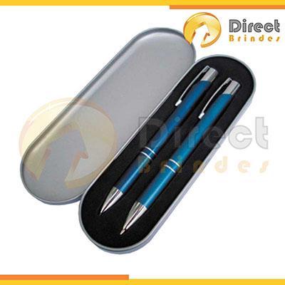 direct-brindes-personalizados - Conjunto Caneta esferográfica e Lapiseira de metal, cores: vermelho, branco, azul e preto. Estojo de metal. Gravação a laser