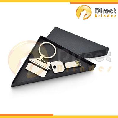 direct-brindes-personalizados - Conjunto pen drive e com chaveiro metal personalizados.