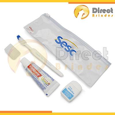 Direct Brindes Personalizados - Kit higiene bucal, embalagem estojo em PVC Cristal com fecho ZIP ZAP, personalização em silk screen