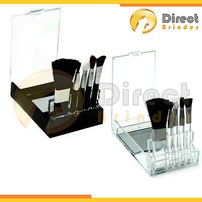 Direct Brindes Personalizados - Kit pincel 5 peças de acrílico. Contém pincéis + porta pincel com espelho